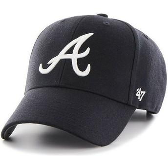 Boné curvo azul marinho lisa dos MLB Atlanta Braves da 47 Brand