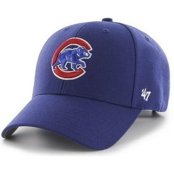 Boné curvo azul lisa dos MLB Chicago Cubs da 47 Brand