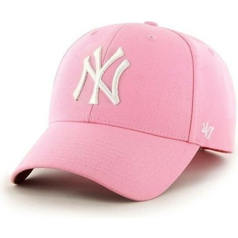 Boné curvo rosa lisa dos MLB New York Yankees da 47 Brand