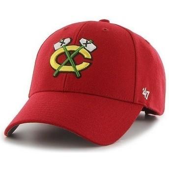 Boné curvo vermelha dos NHL Chicago Blackhawks da 47 Brand