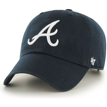 Boné curvo azul marinho com logo frontal dos MLB Atlanta Braves da 47 Brand