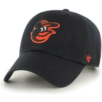 Boné curvo preta com logo frontal dos MLB Baltimore Orioles da 47 Brand