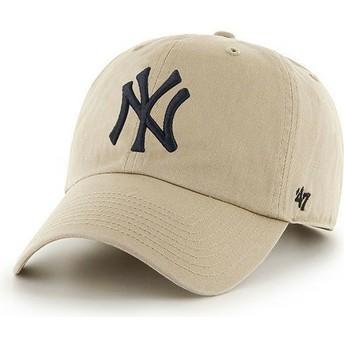 Boné curvo bege com logo frontal grande dos MLB New York Yankees da 47 Brand