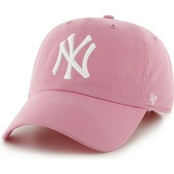 Boné curvo rosa com logo frontal grande dos MLB New York Yankees da 47 Brand