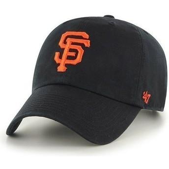 Boné curvo preta com logo frontal grande dos MLB San Francisco Giants da 47 Brand