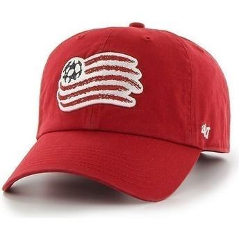 Boné curvo vermelha com logo frontal grande dos New England Revolution FC da 47 Brand