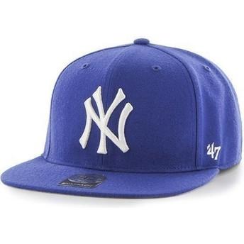 Boné plano azul snapback para criança dos New York Yankees MLB da 47 Brand