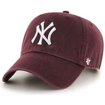 Boné curvo grená dos New York Yankees MLB Clean Up da 47 Brand