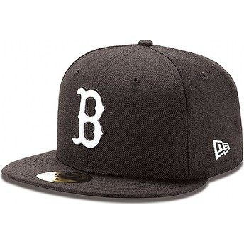 Boné plano preto justo 59FIFTY Essential dos Boston Red Sox MLB da New Era