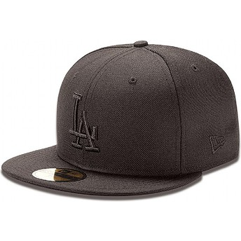 Boné plano preto justo 59FIFTY Black on Black dos Los Angeles Dodgers MLB da New Era