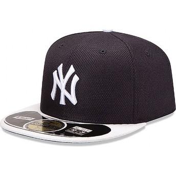 Boné plano azul marinho justo 59FIFTY Diamond Era dos New York Yankees MLB da New Era
