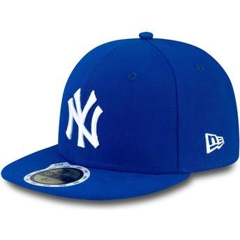 Boné plano azul justo para criança 59FIFTY Essential dos New York Yankees MLB da New Era