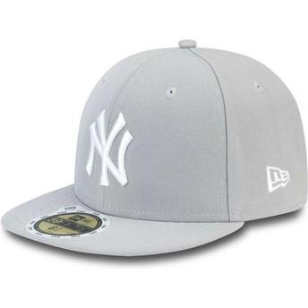 Boné plano cinza justo para criança com logo branco 59FIFTY Essential dos New York Yankees MLB da New Era