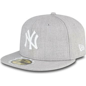 Boné plano cinza justo para criança 59FIFTY Essential dos New York Yankees MLB da New Era