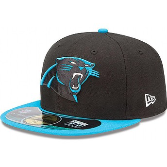Boné plano preto justo 59FIFTY Authentic On-Field Game dos Carolina Panthers NFL da New Era