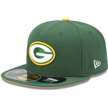 Boné plano verde justo 59FIFTY Authentic On-Field Game dos Green Bay Packers NFL da New Era