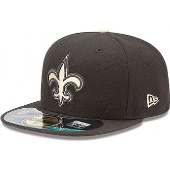 Boné plano preto justo 59FIFTY Authentic On-Field Game dos New Orleans Saints NFL da New Era