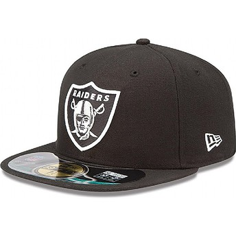 Boné plano preto justo 59FIFTY Authentic On-Field Game dos Oakland Raiders NFL da New Era