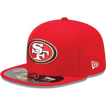 Boné plano vermelho justo 59FIFTY Authentic On-Field Game dos San Francisco 49ers NFL da New Era