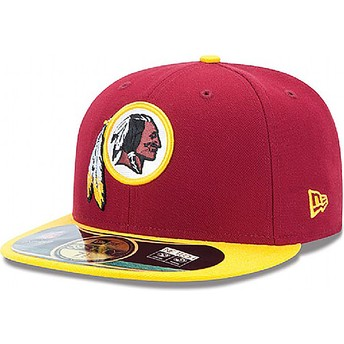 Boné plano vermelho justo 59FIFTY Authentic On-Field Game dos Washington Redskins NFL da New Era