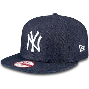 Boné plano azul marinho snapback 9FIFTY Essential Denim dos New York Yankees MLB da New Era