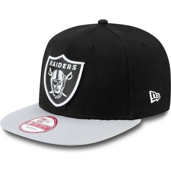 Boné plano cinza snapback 9FIFTY Cotton Block dos Oakland Raiders NFL da New Era