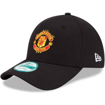 Boné curvo preto ajustável 9FORTY Essential do Manchester United Football Club da New Era