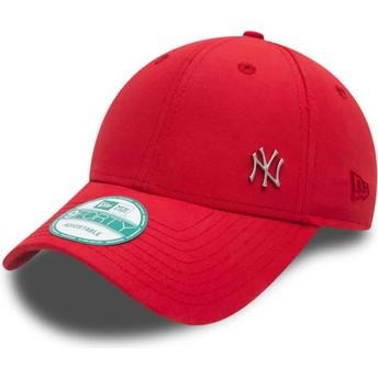 Boné curvo vermelho ajustável 9FORTY Flawless Logo dos New York Yankees MLB da New Era
