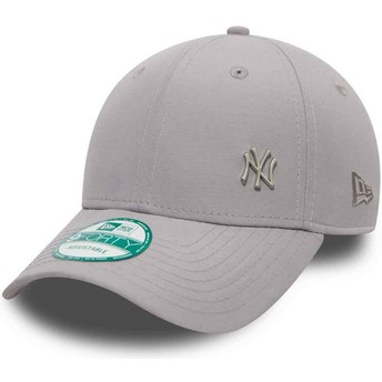 Boné curvo cinza ajustável 9FORTY Flawless Logo dos New York Yankees MLB da New Era