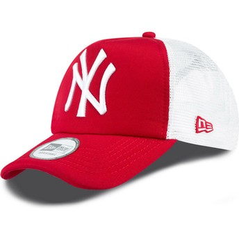 Boné trucker vermelho Clean A Frame dos New York Yankees MLB da New Era