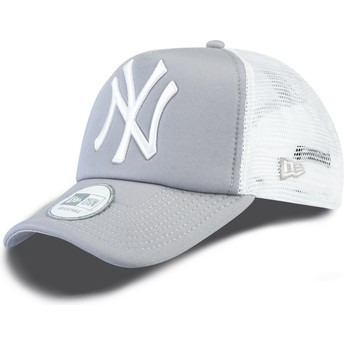 Boné trucker cinza Clean A Frame dos New York Yankees MLB da New Era