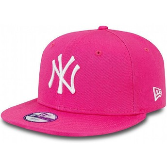 Boné plano rosa snapback para criança 9FIFTY Essential dos New York Yankees MLB da New Era