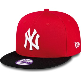 Boné plano vermelho snapback para criança 9FIFTY Cotton Block dos New York Yankees MLB da New Era