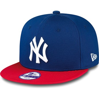 Boné plano azul snapback para criança 9FIFTY Cotton Block dos New York Yankees MLB da New Era