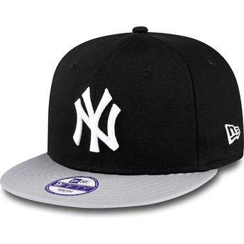 Boné plano preto snapback para criança 9FIFTY Cotton Block dos New York Yankees MLB da New Era