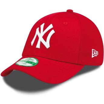 Boné curvo vermelho ajustável para criança 9FORTY Essential dos New York Yankees MLB da New Era