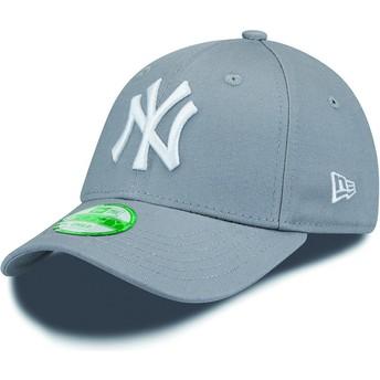 Boné curvo cinza ajustável para criança 9FORTY Essential dos New York Yankees MLB da New Era