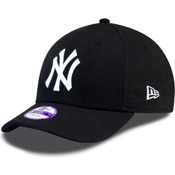Boné curvo preto ajustável com velcro para criança 9FORTY Essential dos New York Yankees MLB da New Era