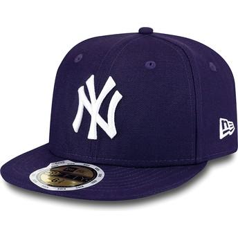Boné plano violeta justo para criança 59FIFTY Essential dos New York Yankees MLB da New Era